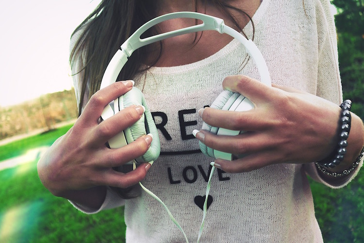 Girl Headphones Hands