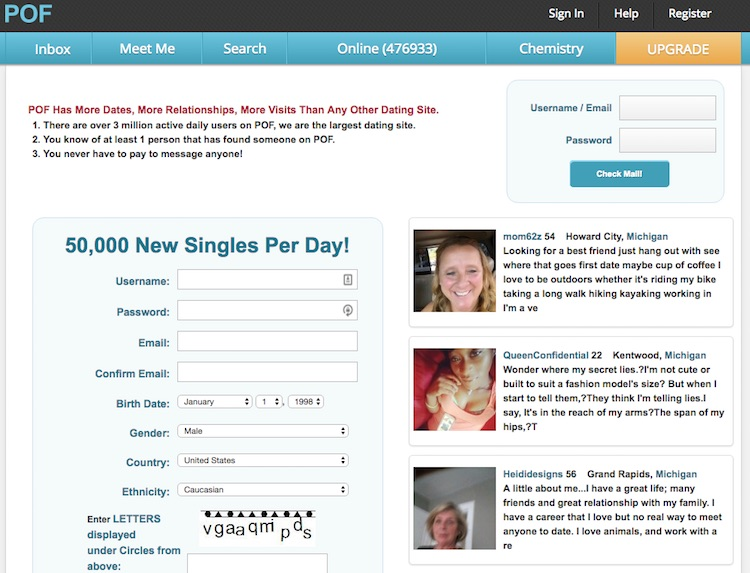 Plenty of fish free dating website