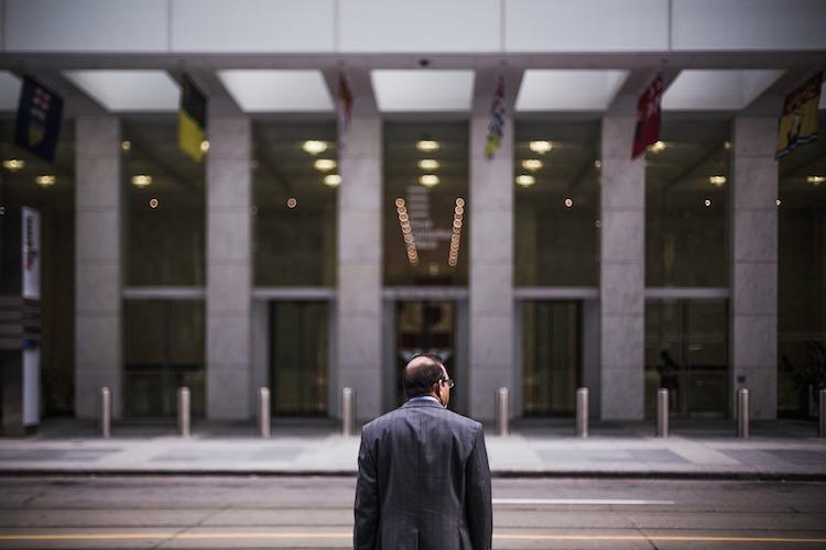 Man Entering Building
