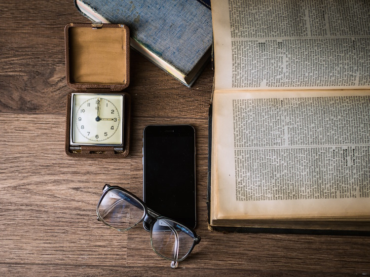 Smartphone with Watch Book and Glasses