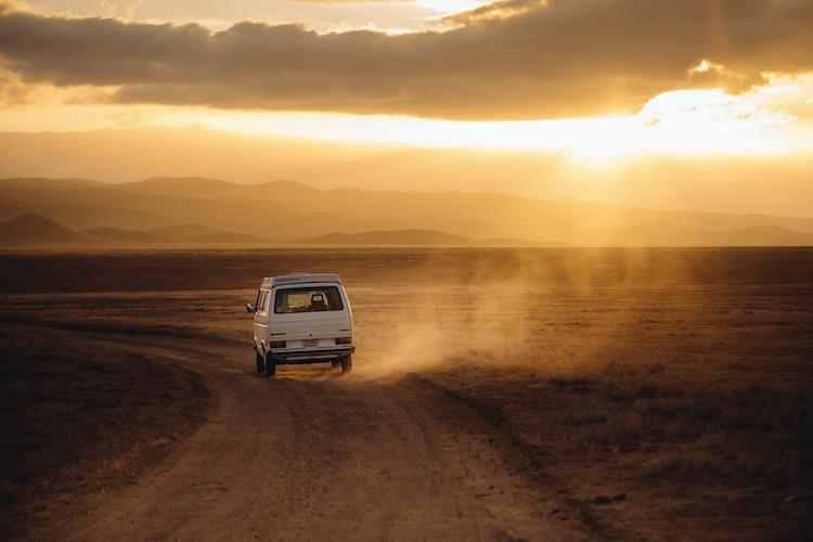 Van Riding Into Sunset