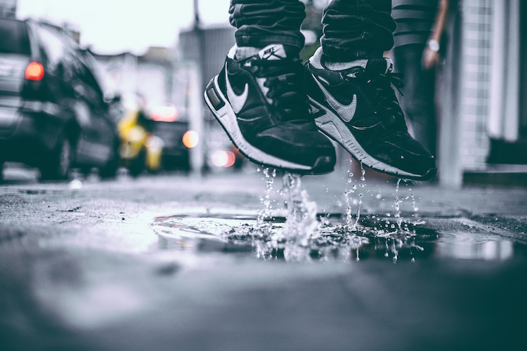 Shoes Jumping Puddle