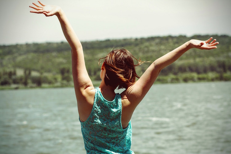 Happy Arms Up Woman Lake