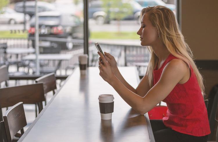 Woman Phone Coffee