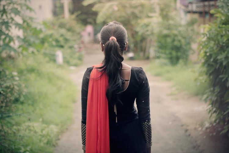 Woman Walking Alone Path
