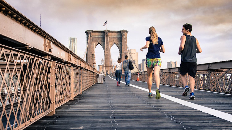 Couple Man Woman Running Bridge